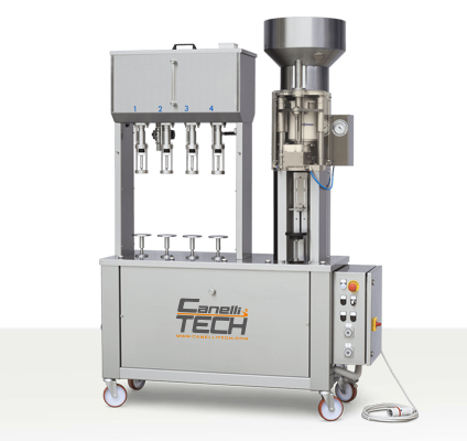 semi-automatic gravity filler and corker monoblock for natural straight corks